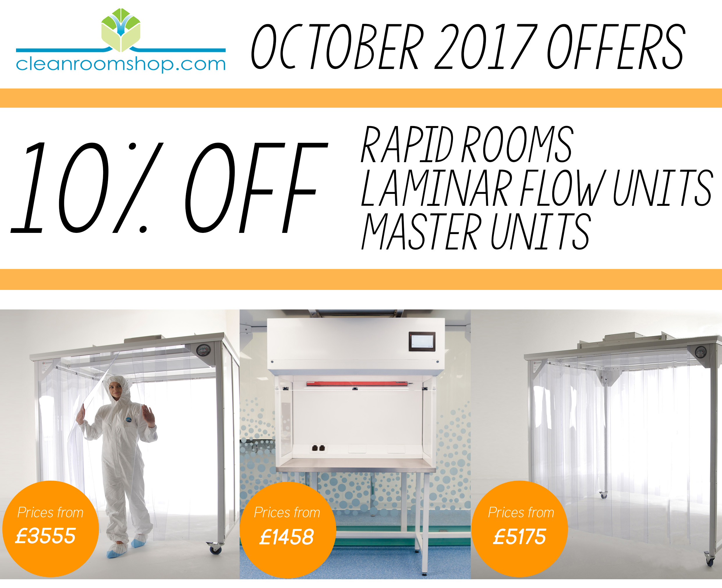 10% Off Rapid Rooms and Laminar Flow Units for limited time only