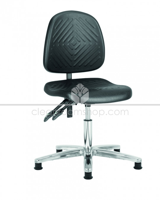Deluxe Low Cleanroom Chair with Glides (Black)