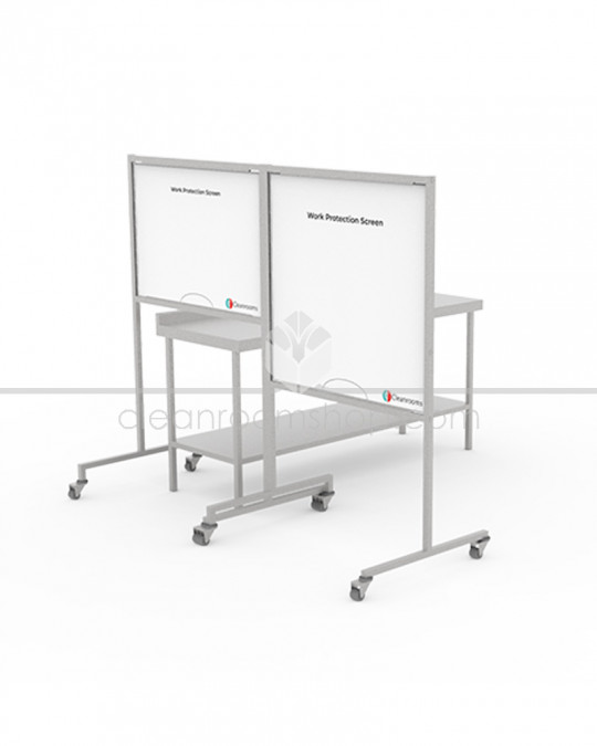 Free Standing Work Protection Screen - White Panel