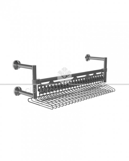 Electropolished Stainless Steel Hanging Rail - Wall Mounted with Hangers