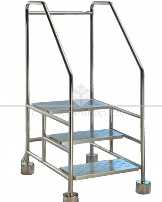 Electropolished Stainless Steel Cleanroom 3 Step Ladder