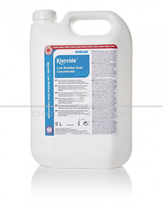 Klercide Low Residue Quat Concentrate Sterile Capped 4 x 5L