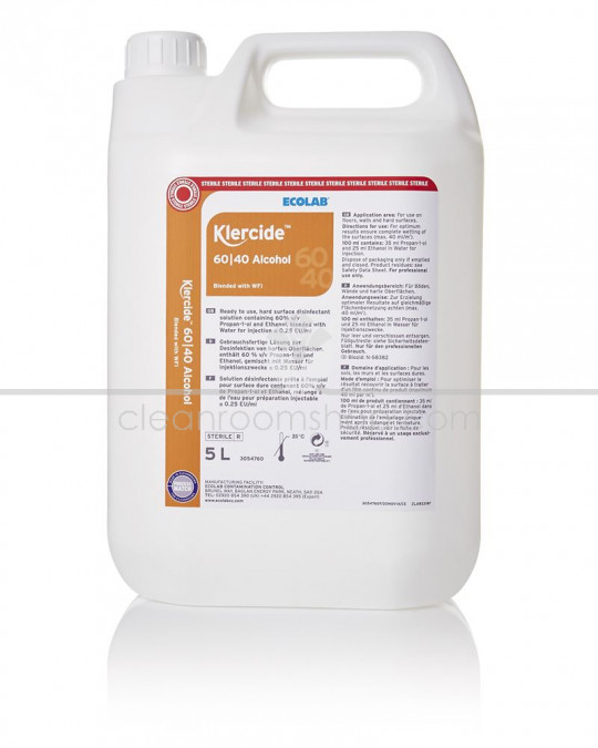Klercide 60/40 Alcohol WFI Sterile Capped 5L - Case of 4