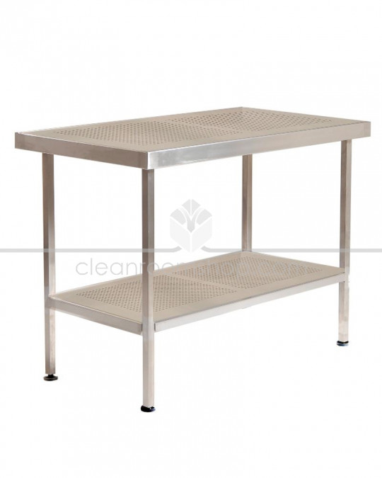 Stainless Steel Perforated Table/Bench with Undershelf (No Upstand)