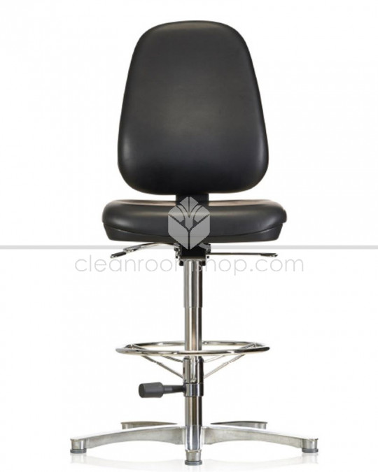 Cleanroom ESD Vinyl High Chair on Glides