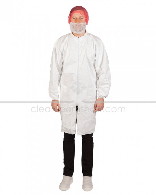 DuPont™ Tyvek® 500 Lab Coat with Pockets (Elastic Cuff) - Case of 50