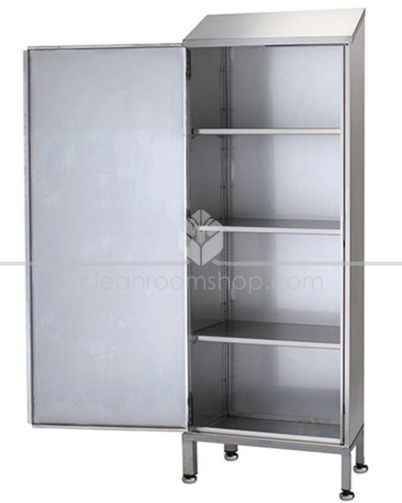 Stainless steel single door storage cupboard 3 shelves for Single kitchen cupboard