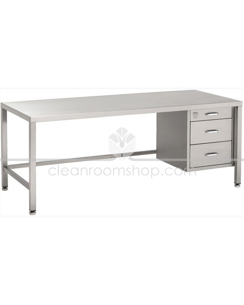 . stainless steel desk with  drawers