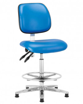Vinyl High Cleanroom Chair with Footring