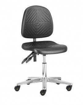 Deluxe Low Cleanroom Chair with Castors (Black)