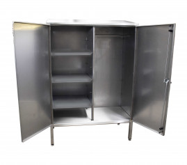Stainless Steel Garment Cupboard with 3 Shelves and a Rail