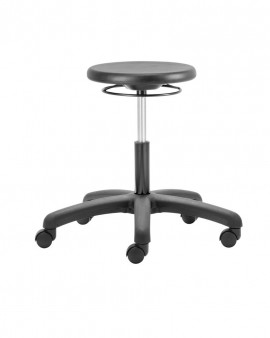 PU Low Stool with Castors - Black