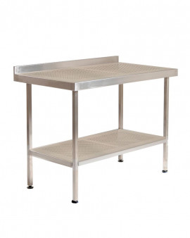 Stainless Steel Perforated Table/Bench with Upstand & Under Shelf