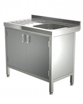 Stainless Steel Sink with Single Drainer & Cupboard