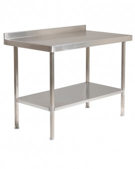 Stainless Steel Table with Upstand and Under Shelf