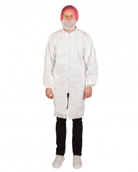 DuPont™ Tyvek® Lab Coat with Pockets (Elastic Cuff) - Case of 50