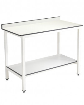 Trespa Table with Upstand and Undershelf