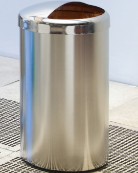 Electropolished S/S Waste Receptacle - on Castors