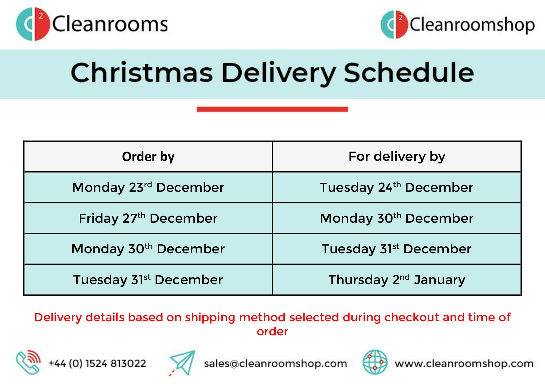 Cleanroomshop Christmas Ordering