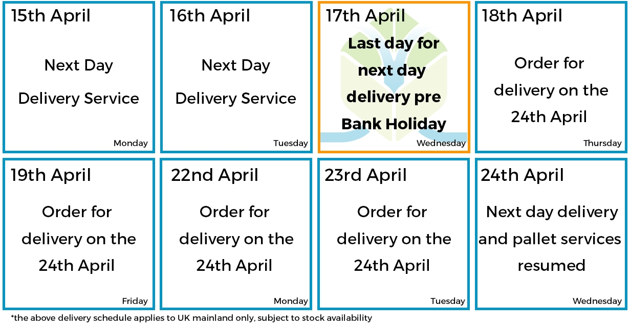 April Bank Holiday Delivery Schedule